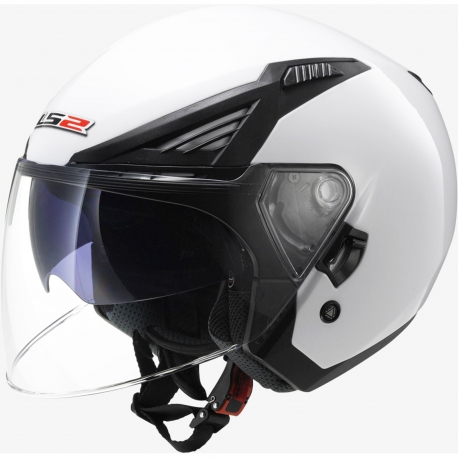 LS2 CASCO JET OF586 BISHOP SOLID COLORE BIANCO LUCIDO