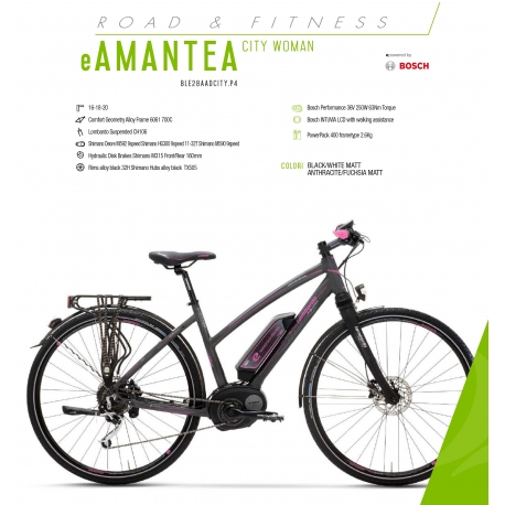 "LOMBARDO BICI ELETTRICA E-AMANTEA  CITY SPEED DONNA 28"" BOSCH PERFORMANCE 400 WH 45 KM/H 2018"