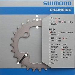 SHIMANO CORONA 26 DENTI DEORE XT FC-M771 GIROBULLONI 64 MM COLORE SILVER