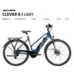 ATALA BICI ELETTRICA CLEVER 6.1 LADY  COLORE BLUE NAVY/PASTEl GRAY MATT